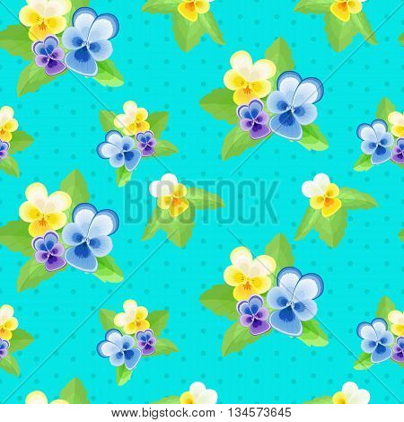 Pansies on blue background with dots.Cute floral seamless pattern with flowers of different colors.Summer vector illustration.Can be used for fabric, textile, wrapping paper.