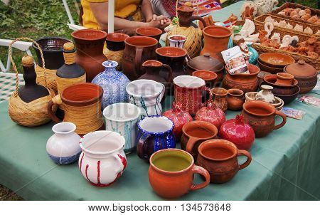 Beautiful original ceramic ware made from clay on a Potter's wheel handmade and firing