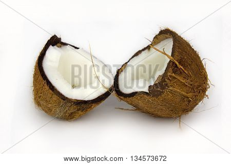 Coconut with half isolated on white Background.