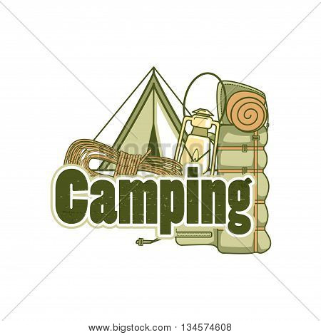Logo Template For Camping With A Tent, Backpack, Rope And Kerosene Lamp.