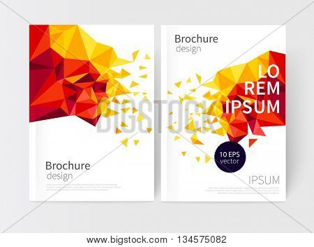 Yellow and red scatter triangles. Minimalistic White cover Brochure design. Flyer, booklet, report cover template. modern Geometric Abstract Business background. vector-stock illustration