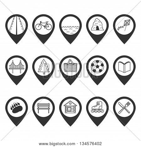 Set Of Map Pointers With Different Icons Inside.