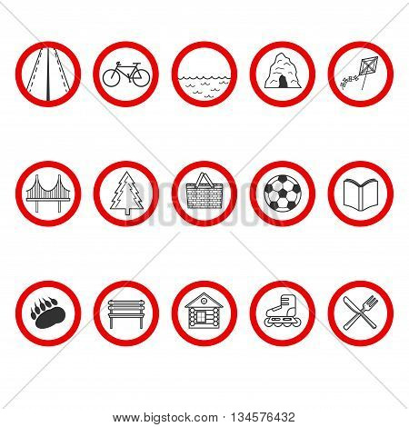Set Of Icons With A Different Value In Red Circle.