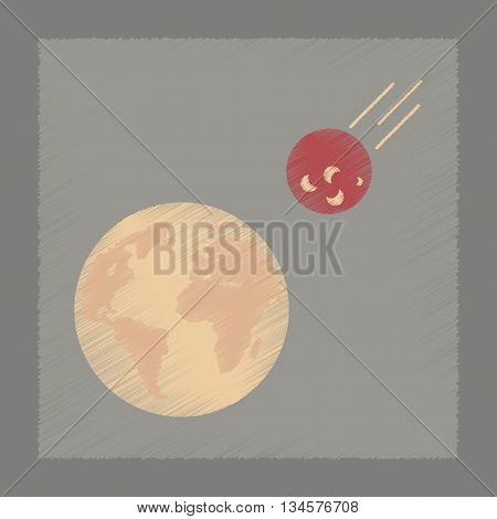 flat shading style icon nature meteorite earth