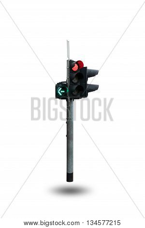 Traffic light or traffic signal isolated on white background.