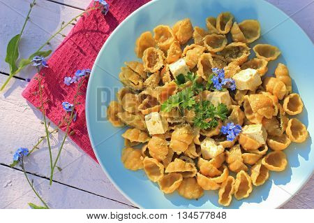 Fresh healthy vegetarian meal wholemeal pasta with tofu