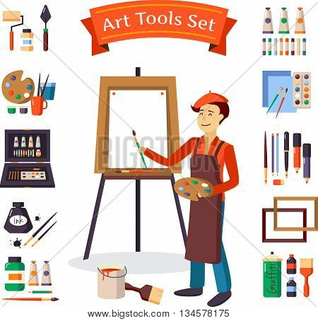 Artist and art tools set for painting and creature vector illustration