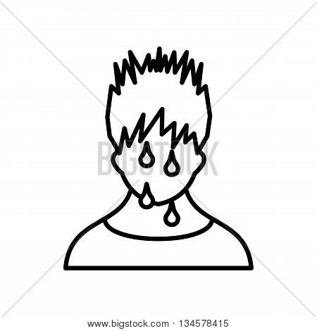 Sweaty man icon in outline style on a white background