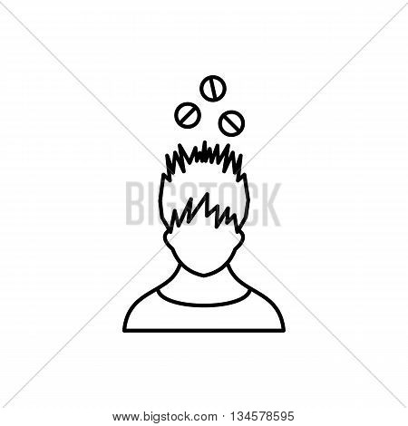 Man with tablets over head icon in outline style isolated on white background