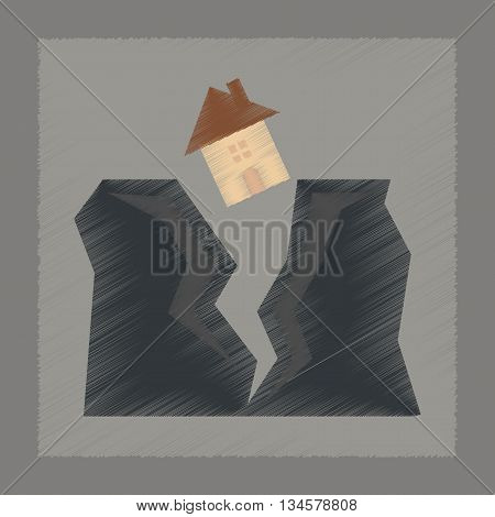 flat shading style icon nature house earthquake