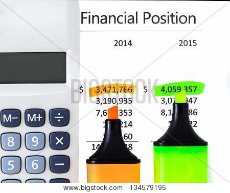 Calculator highlighter and markers on financial statements.