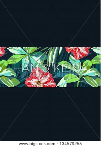 Wedding invitaion and card design with exotic tropical flowers and leaves, vector illusrtation