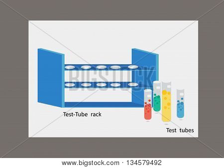Test-tube rack and colorful Test tubes in white background.