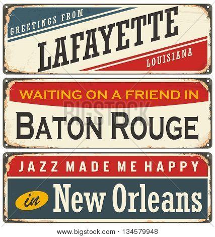 Retro tin sign collection with USA cities in Louisiana. Vintage vector souvenir sign or postcard templates.