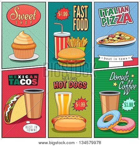 Fast food mini posters composition in comic panels retro style with colorful backgrounds advertisement abstract vector illustration