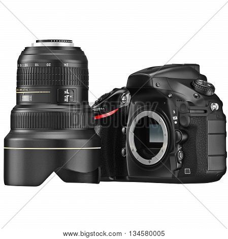 DSLR camera with optical zoom lens disassembly. 3D graphic