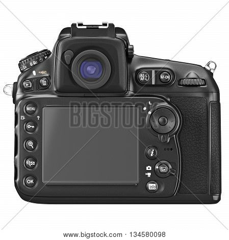 DSLR camera with large LCD display, back view. 3D graphic