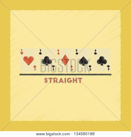 flat shading style icon poker cards straight