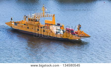 Yellow Ro-ro Cargo Ship Goes On The Route