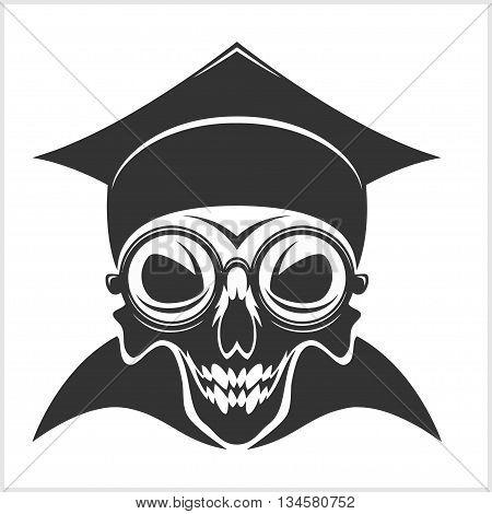 skull academic in graduation cap on white