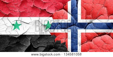 Syria flag with Norway flag on a grunge cracked wall