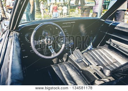 Benalmadena, Spain - June 21, 2015: Interior view of Chevrolet Corvette C3, parked in the port of Benalmadena (Spain), on June 21, 2015.