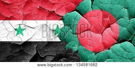 Syria flag with Bangladesh flag on a grunge cracked wall
