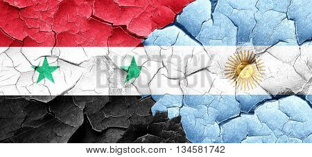 Syria flag with Argentine flag on a grunge cracked wall