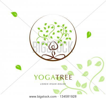 YOGA TREE IN CIRCLE , VECTOR LOGO / ICON