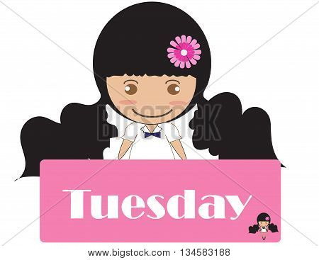 day of the week Tuesday cute cartoon.