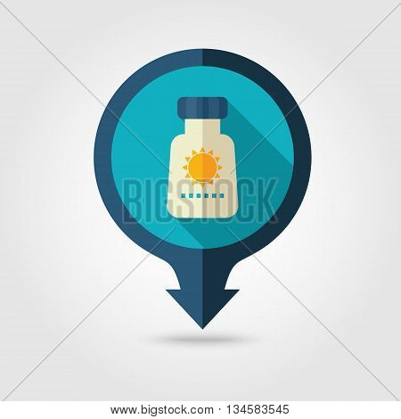 Sunscreen vector pin map flat icon with long shadow. Beach Map pointer. Summer Map markers. Holiday. Summertime. Vacation eps 10