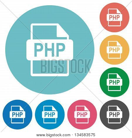 Flat PHP file format icon set on round color background.