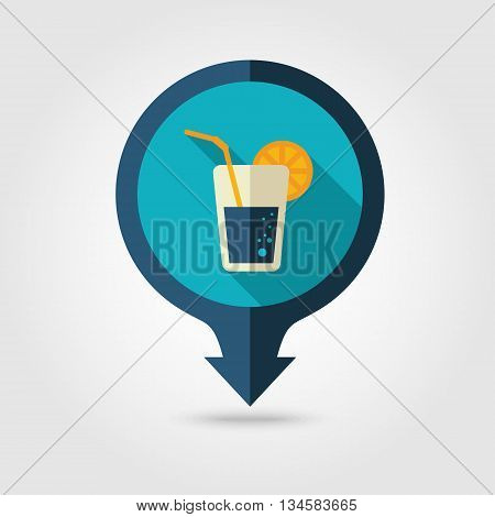 Cocktail vector pin map flat icon with long shadow. Beach Map pointer. Summer Map markers. Holiday. Summertime. Vacation eps 10