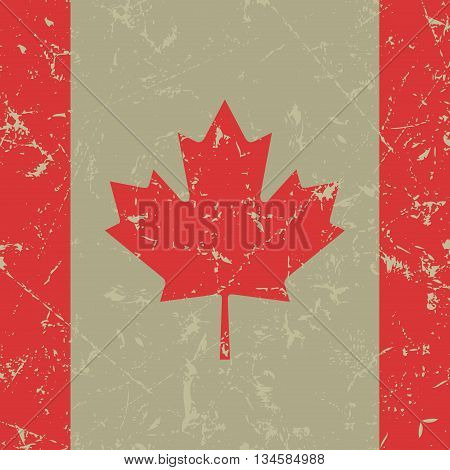 square with maple leaf - grunge national flag of Canada