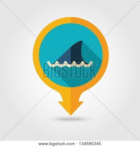 Shark fin vector pin map flat icon with long shadow. Beach Map pointer. Summer Map markers. Holiday. Summertime. Vacation eps 10