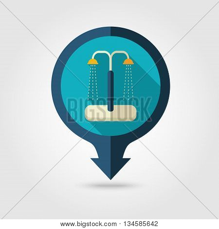 Summer beach pool shower vector pin map flat icon with long shadow. Beach Map pointer. Summer Map markers. Holiday. Summertime. Vacation eps 10