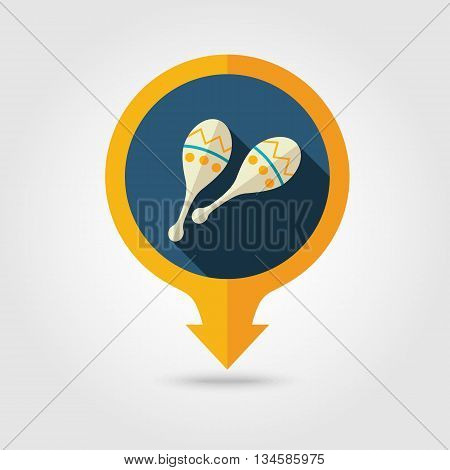 Maracas vector pin map flat icon with long shadow. Beach Map pointer. Summer Map markers. Holiday. Summertime. Vacation eps 10