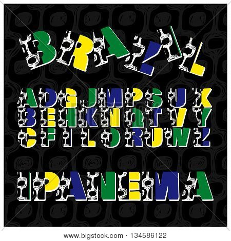 Alphabet Letters In Brazil Style. Vector Set Of Letters.
