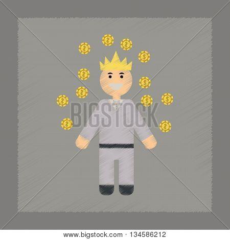 flat shading style icon poker man player