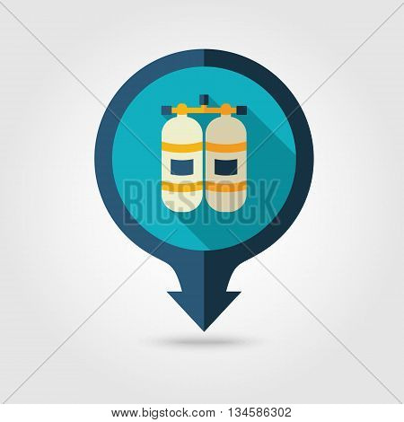 Oxygen tank vector pin map flat icon with long shadow. Beach Map pointer. Summer Map markers. Holiday. Summertime. Vacation eps 10