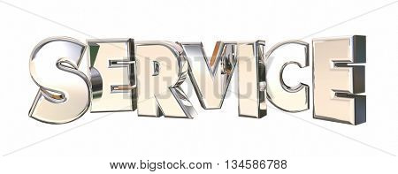 Service Company Response Attention Word 3d Illustration