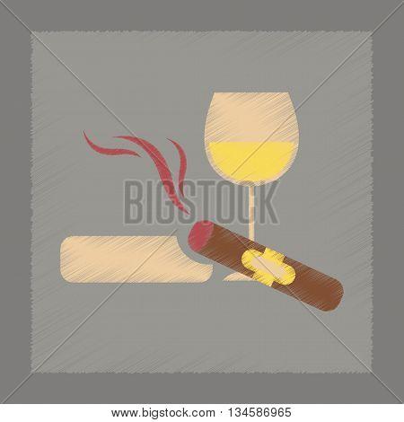 flat shading style icon poker cigar glass of wine