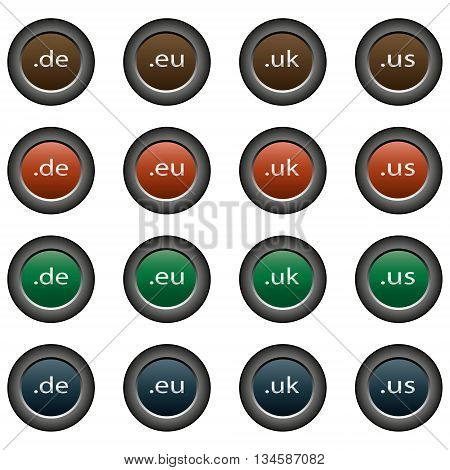 Collection of 16 isolated multicolor buttons (icons) - domains (de button, eu button, uk button, us button)