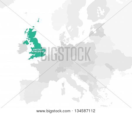United Kingdom location modern detailed map. All european countries without names. Vector template of beautiful flat grayscale map design with selected country name text and border location