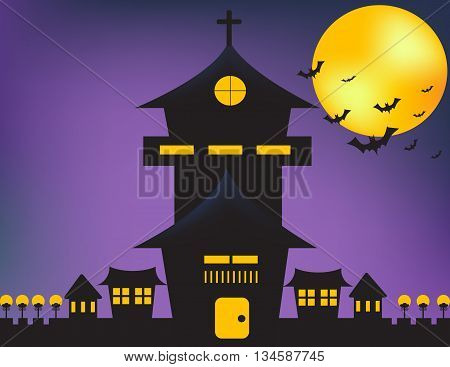 Castle bat and moon in the night .castle on purple background.
