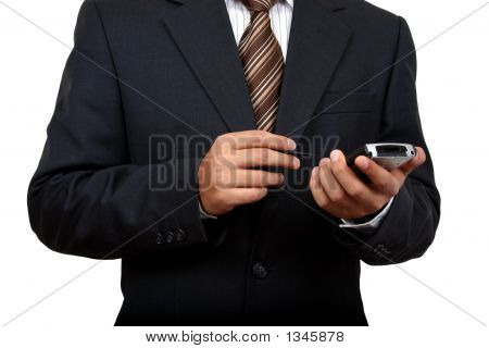 Business Man Using Pda (2) With Clipping Path