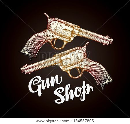 Old revolver, handgun, cowboy gun vector illustration
