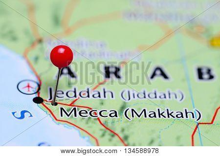 Mecca pinned on a map of Saudi Arabia