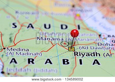 Riyadh pinned on a map of Saudi Arabia