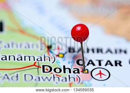 Doha pinned on a map of Qatar